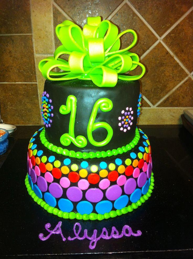 12 Neon Birthday Cakes For Guy Photo Neon Birthday Cake Ideas