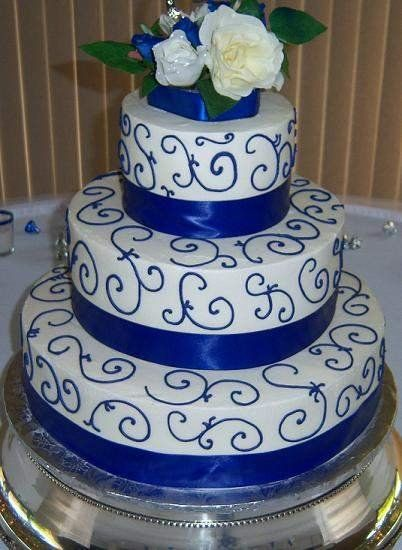 11 White With Gold And Blue Birthday Cakes Photo Blue White And