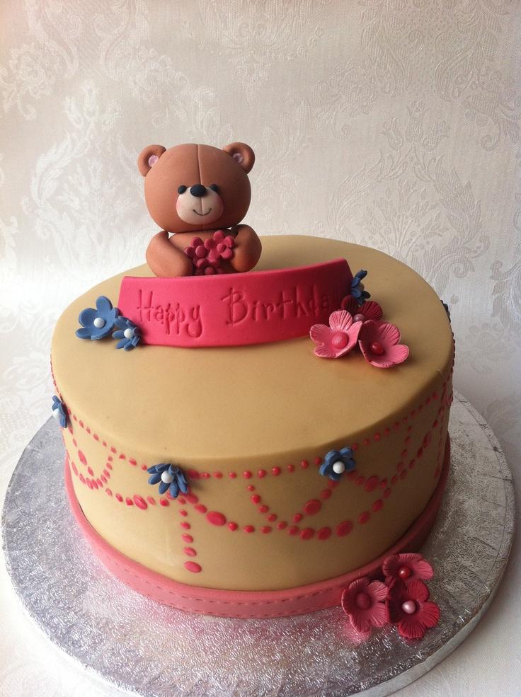 10 Teddy Bear Girls Birthday Cakes Photo Teddy Bear First Birthday