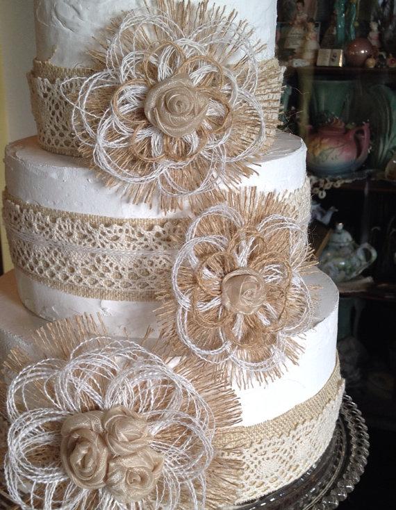 9 Burlap Lace And Burlap Wedding Cakes With Flowers Photo Burlap