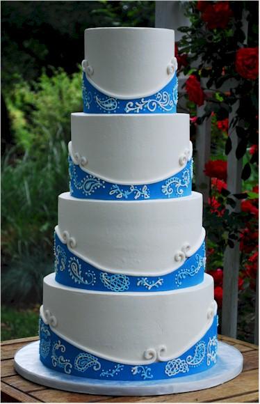 6 Blue Bandana Wedding Cakes Photo Blue Paisley Wedding Cake