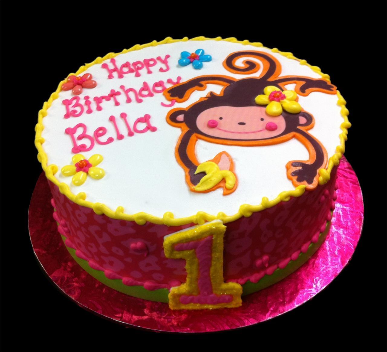 Groovy 10 Square Monkey Birthday Cakes For Girls Photo Monkey Birthday Personalised Birthday Cards Petedlily Jamesorg
