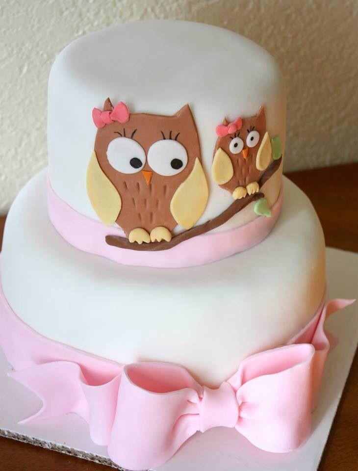Pink Owl Baby Shower Cake Girl