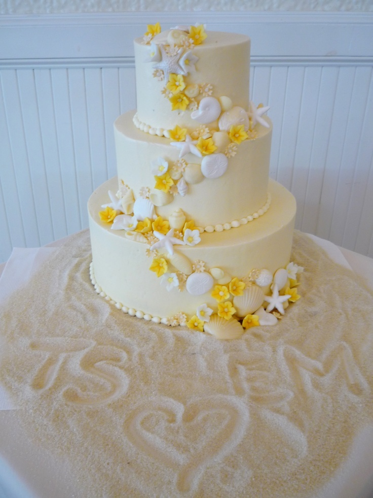 12 cakes with flowers and seashells photo beach wedding cakes with yellow flowers wedding cake mightylinksfo