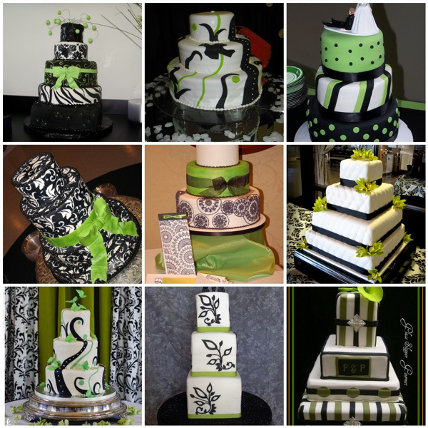 10 Lime Green Black And White Wedding Cakes Photo - Green Black and ...