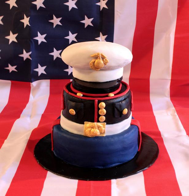 Pleasing 11 Marine Corps Tiered Cakes Photo Marine Graduation Cake Personalised Birthday Cards Akebfashionlily Jamesorg