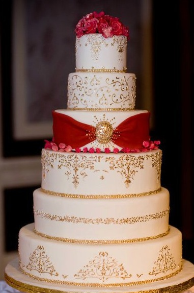 9 Wedding Cakes With Red Accents Photo Red Black And Gold Elegant