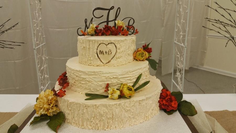 9 Tree Bark Wedding Cakes With Icing Photo - Rustic Wedding Cake ...