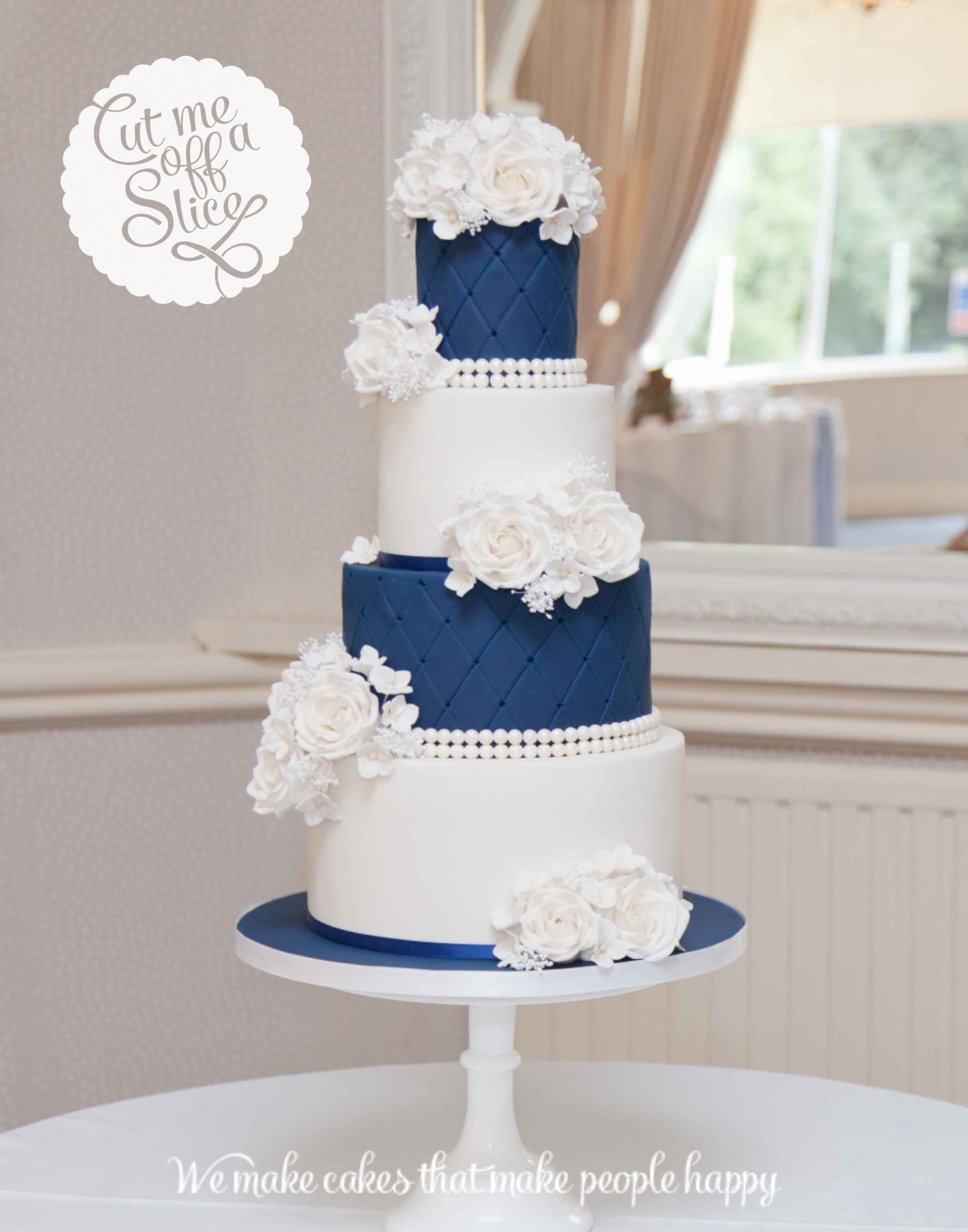 11 Navy Two Tier Wedding Cakes Photo Navy Blue And White Wedding