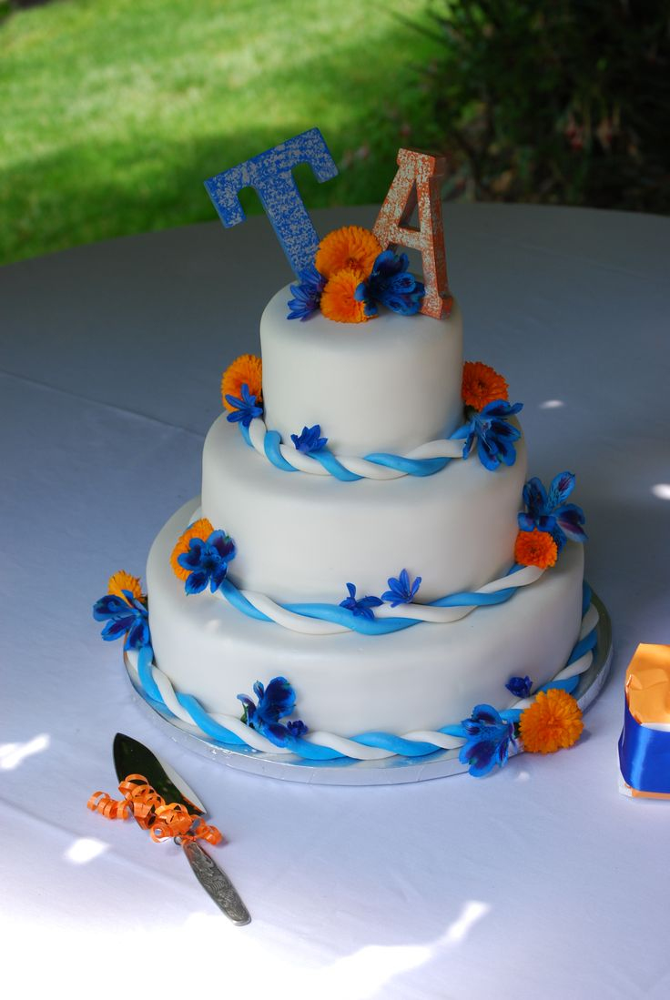 9 Oranges Blue And Brown Cakes Photo - Blue and Orange Wedding Cake ...