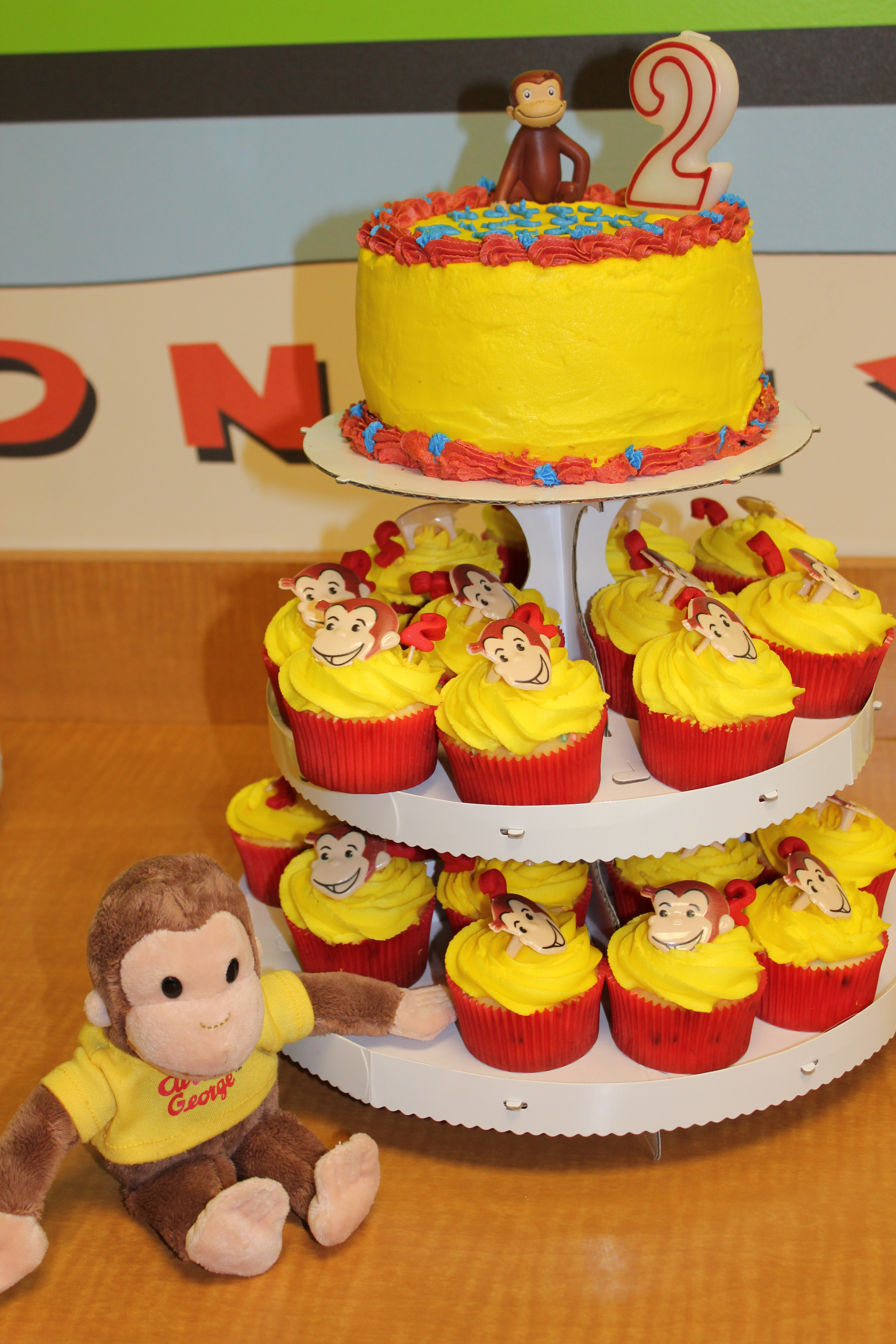 Remarkable 12 Curious George Birthday Cake And Cupcakes Photo Curious Personalised Birthday Cards Beptaeletsinfo