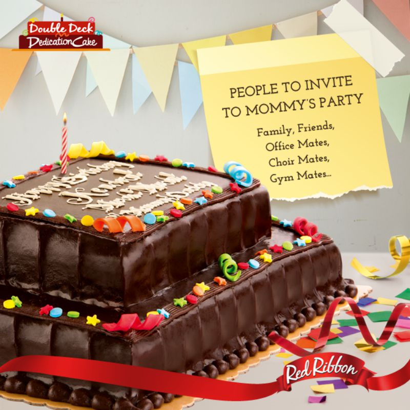 Double Deck Red Ribbon Dedication Cake Price
