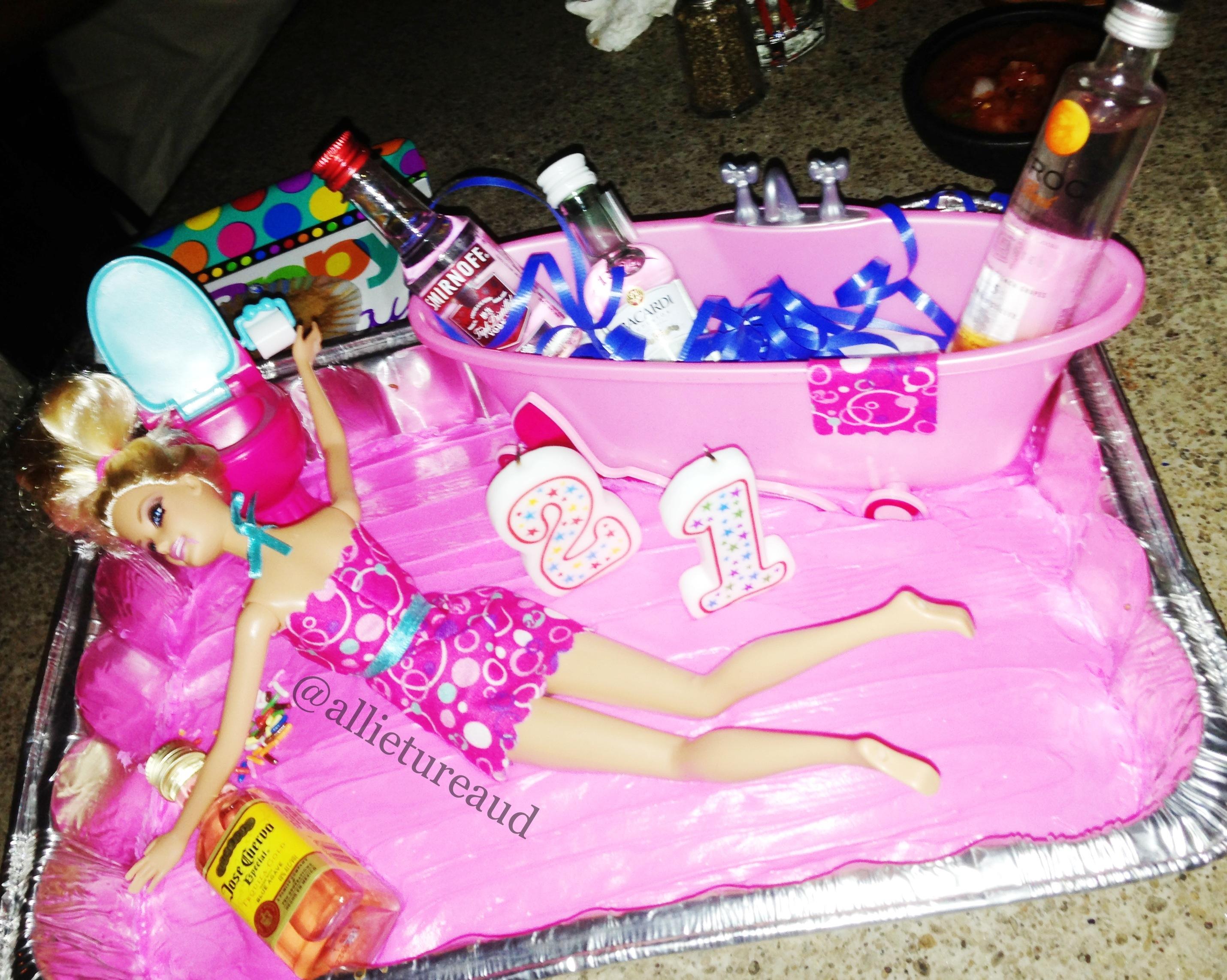 11 Drunken Barbie 21st Birthday Cakes Photo Drunk Barbie 21st
