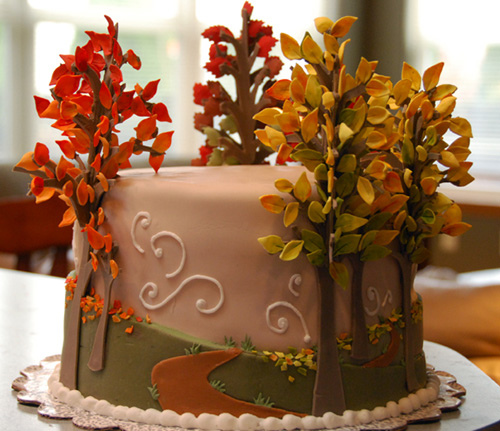 Awe Inspiring 13 Fall Tree Themed Cakes Photo Autumn Leaves Cake Fall Funny Birthday Cards Online Fluifree Goldxyz