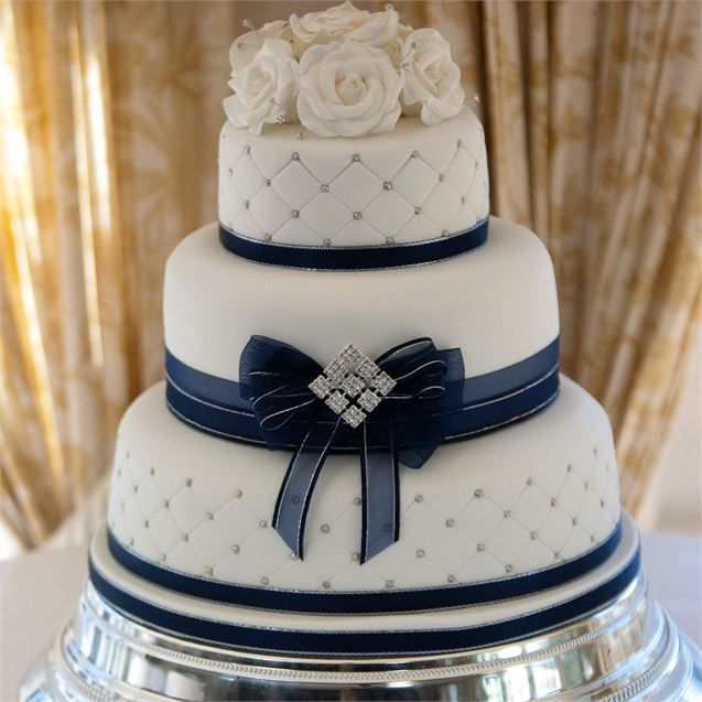 11 Navy Two Tier Wedding Cakes Photo - Navy Blue and White Wedding ...