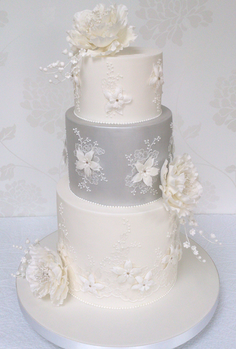 13 Flower Wedding Cakes Elegant White And Silver Photo - White and ...