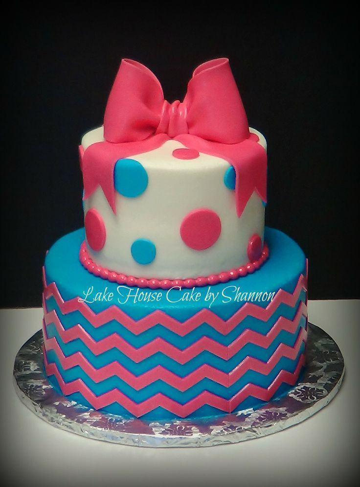 2 Layer Chevron Birthday Cakes