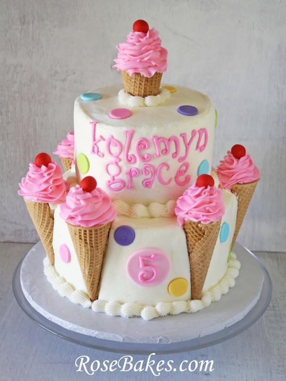 Birthday Cake With Ice Cream Cones