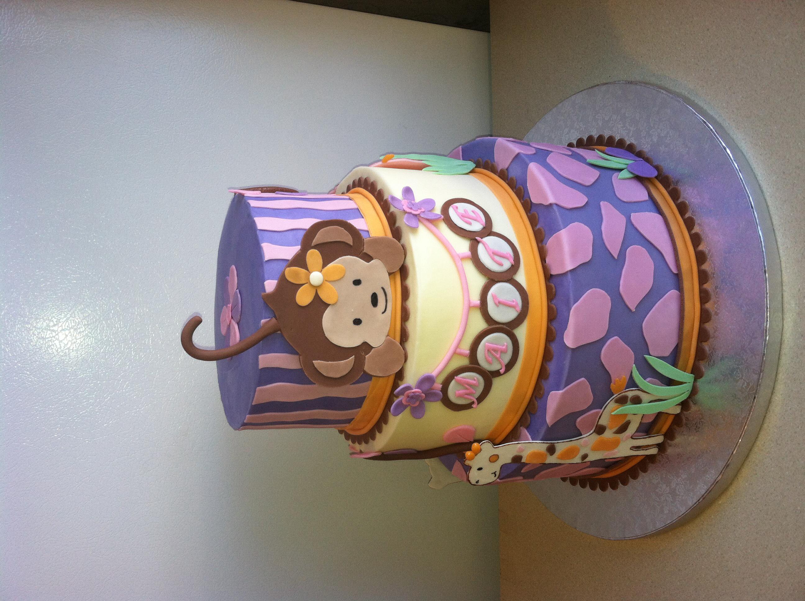 5 Jacana Monkey Girl Baby Shower Cakes Photo Monkey Baby Shower