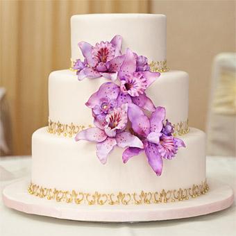 Purple And Gold Flower Wedding Cake