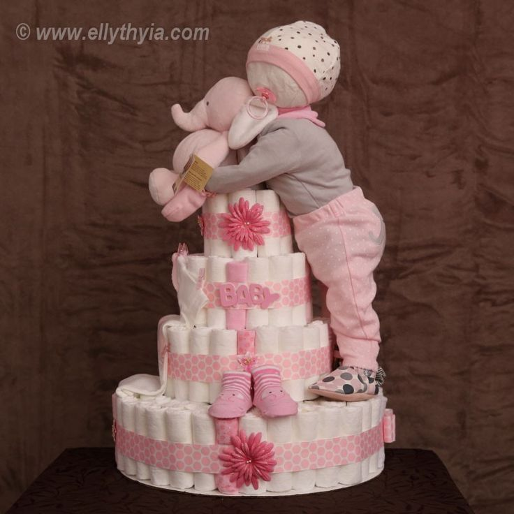8 Silver And Blue Diaper Cakes For Girls Photo Pink Girl Baby
