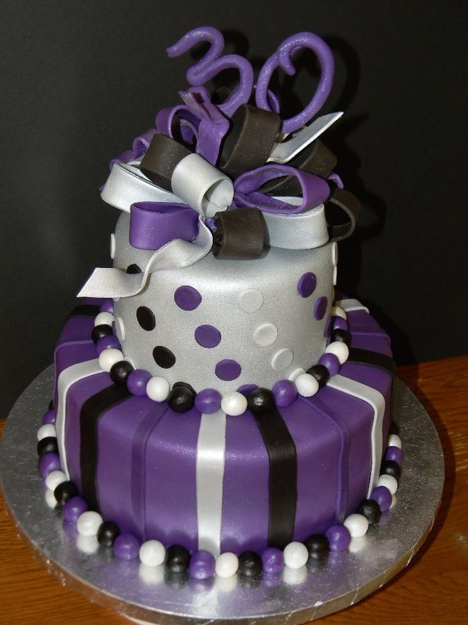 Black Silver And Purple Birthday Cake