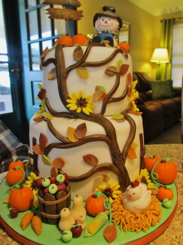 Superb 10 Simple Cakes Fall Festival Photo Fall Birthday Cake Funny Birthday Cards Online Necthendildamsfinfo