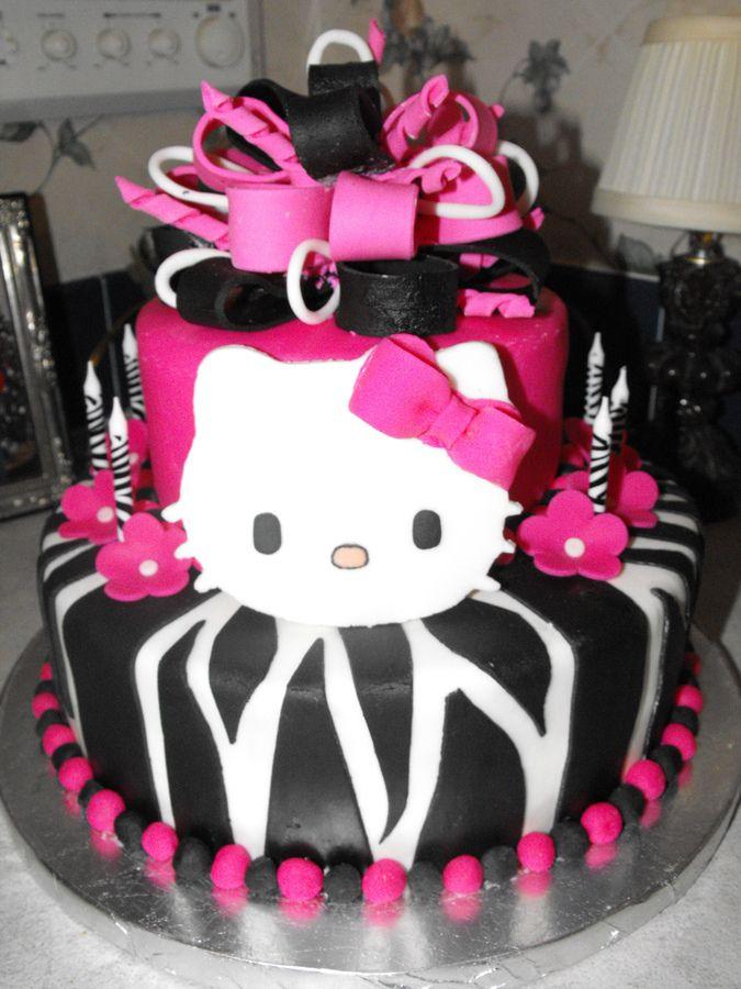 Hello Kitty Zebra Birthday Cakes