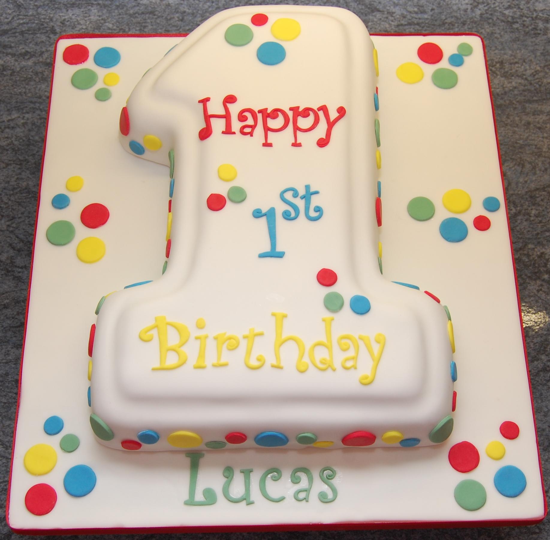 Number 1 Shaped Birthday Cake