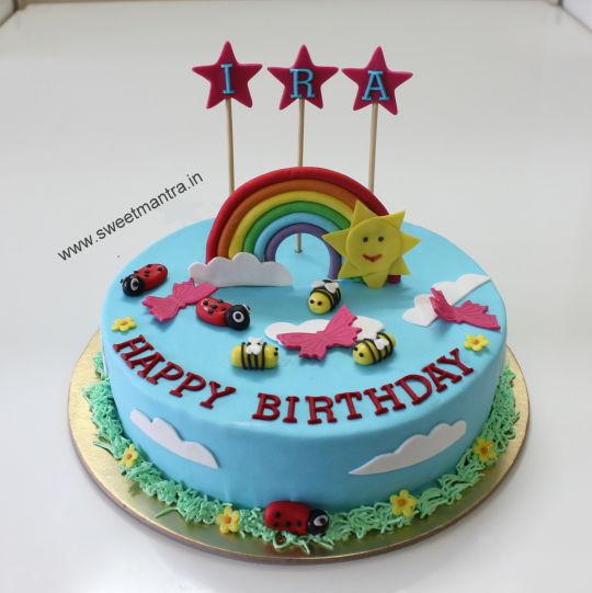 Rainbow Decorated Birthday Cake