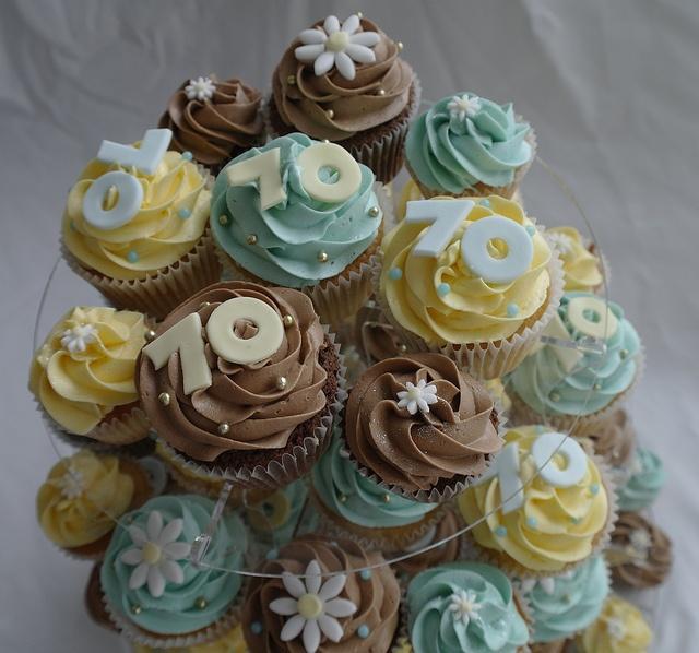 70th Birthday Cupcake Cake Ideas