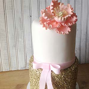 Birthday Cake With Gold Glitter