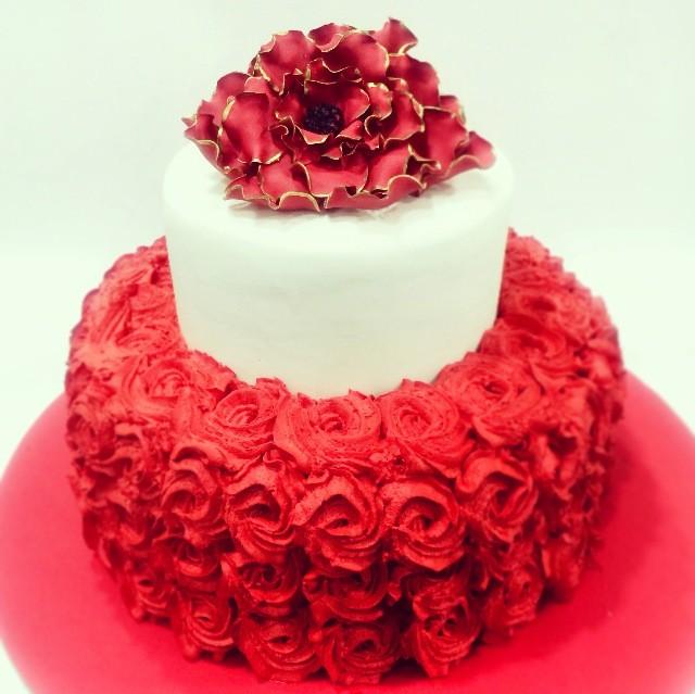 Red Flowers On Birthday Cake Flowers Healthy