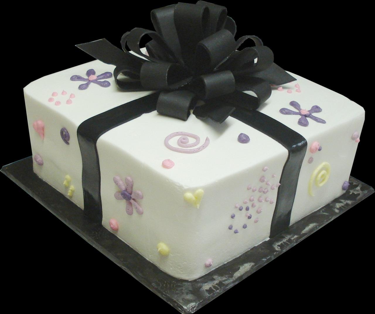 8 Square Birthday Cakes With Bows Photo Square Birthday Cake