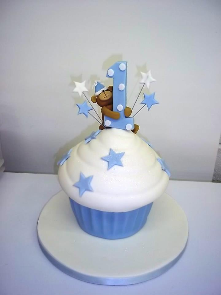 Boys First Birthday Giant Cupcake Cake & 12 Huge Birthday Cakes For Boys Photo - Boys First Birthday Giant ...