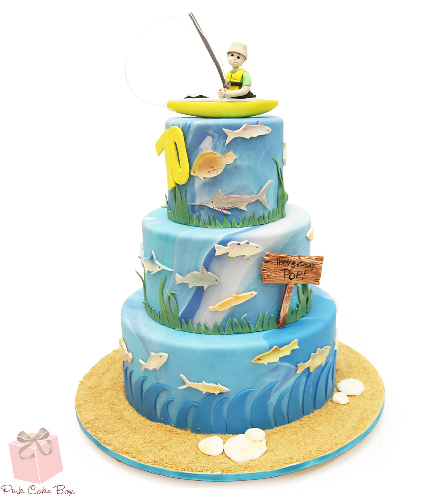 Fine 11 Birthday Cakes With Fisherman Theme Photo Fishing Birthday Funny Birthday Cards Online Elaedamsfinfo