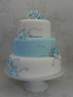 10 Light Blue And Silver Cakes Photo Blue And Silver Wedding Cake