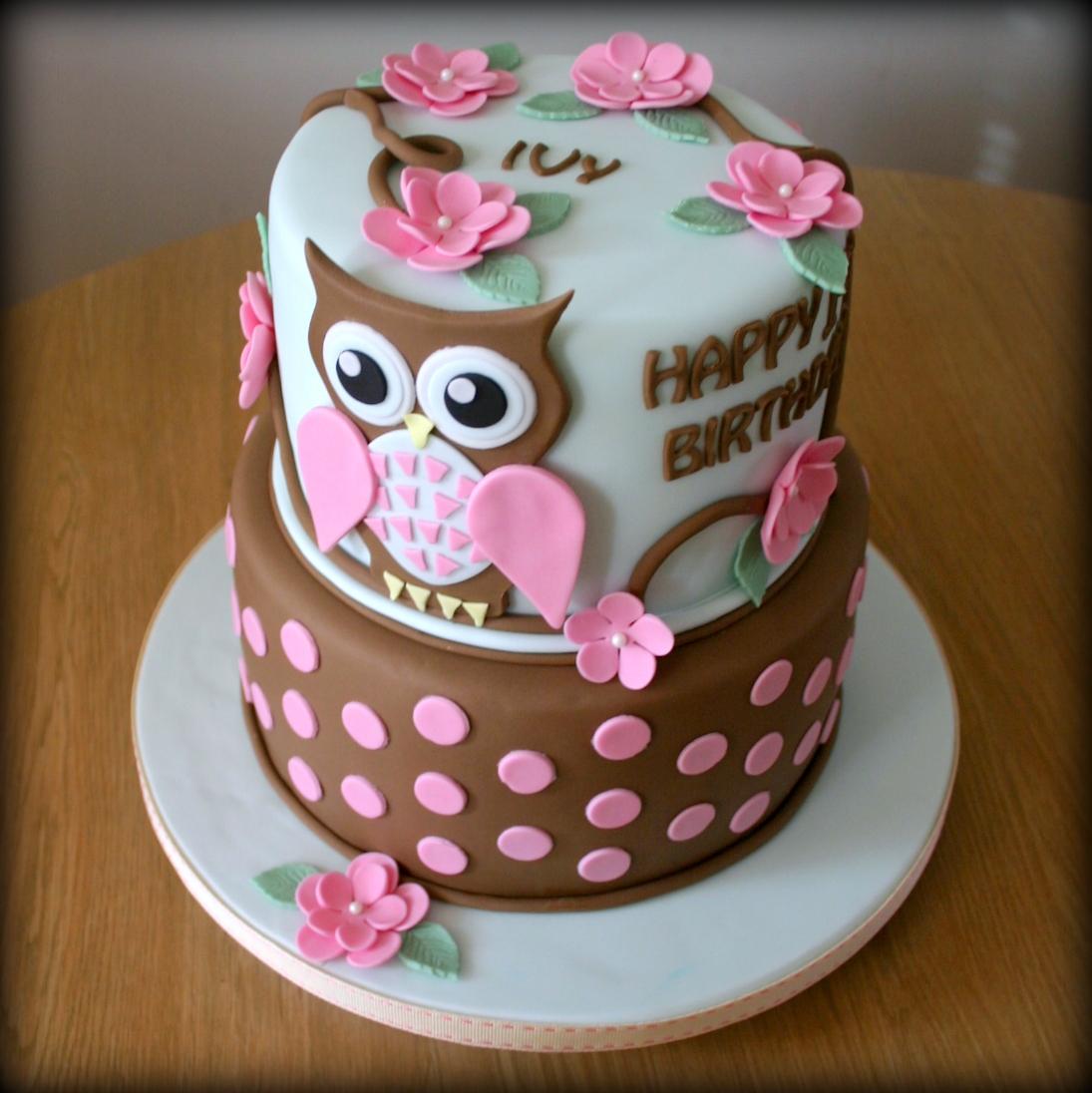7 2 Tier Owl Birthday Cakes For Girls Photo Girls Fondant Birthday