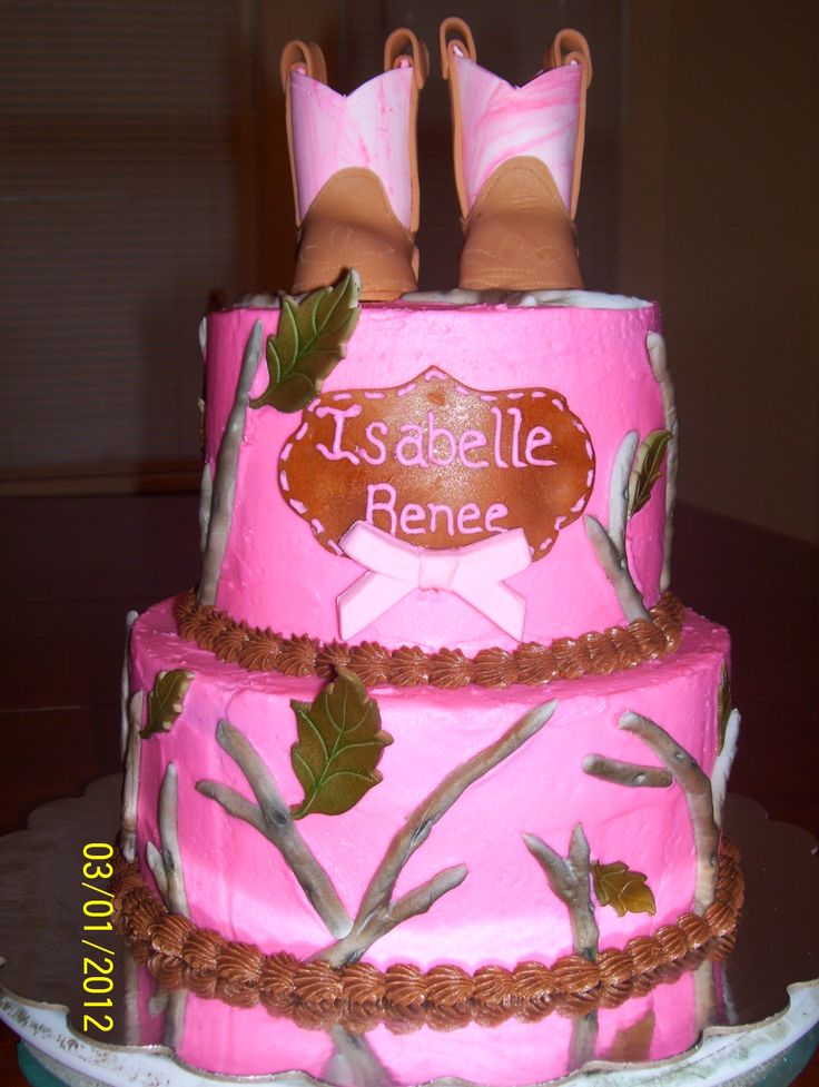 Pink Camo Baby Shower Cakes For Girls