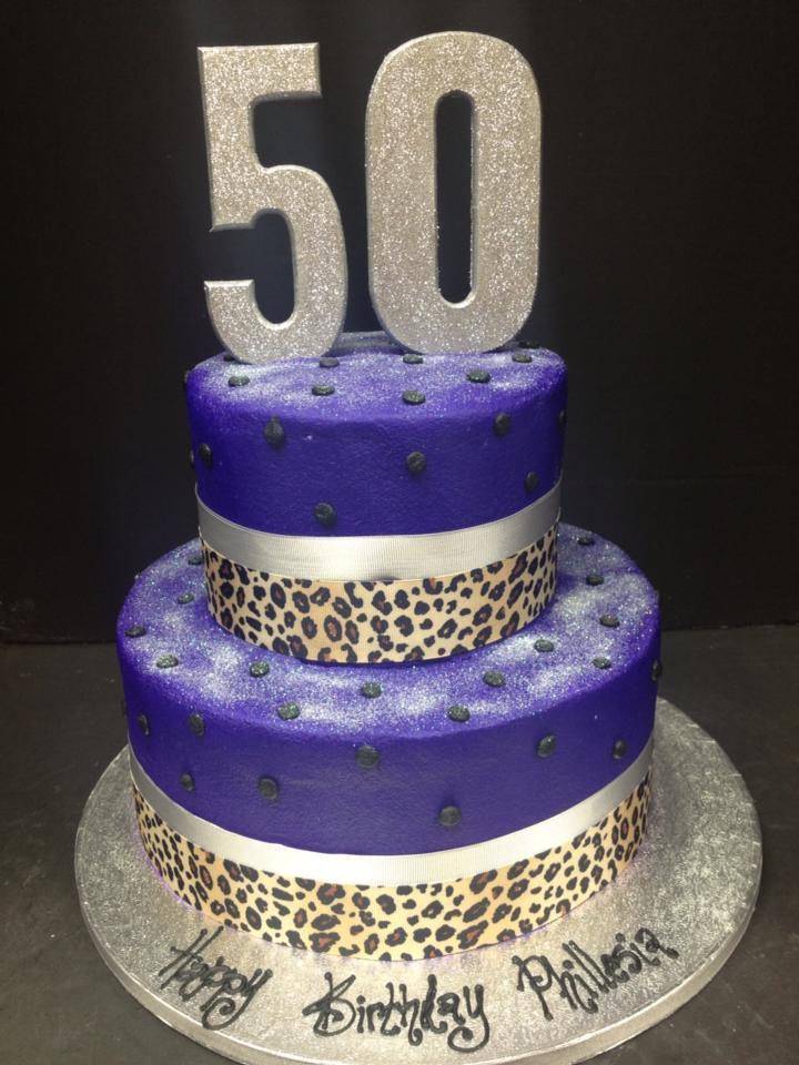 Purple 50th Birthday Cake