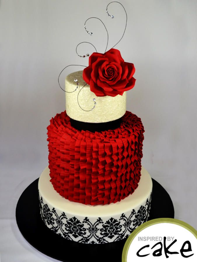 8 With Red And White Tiered Wedding Cakes 2 Cupcakes Photo Black
