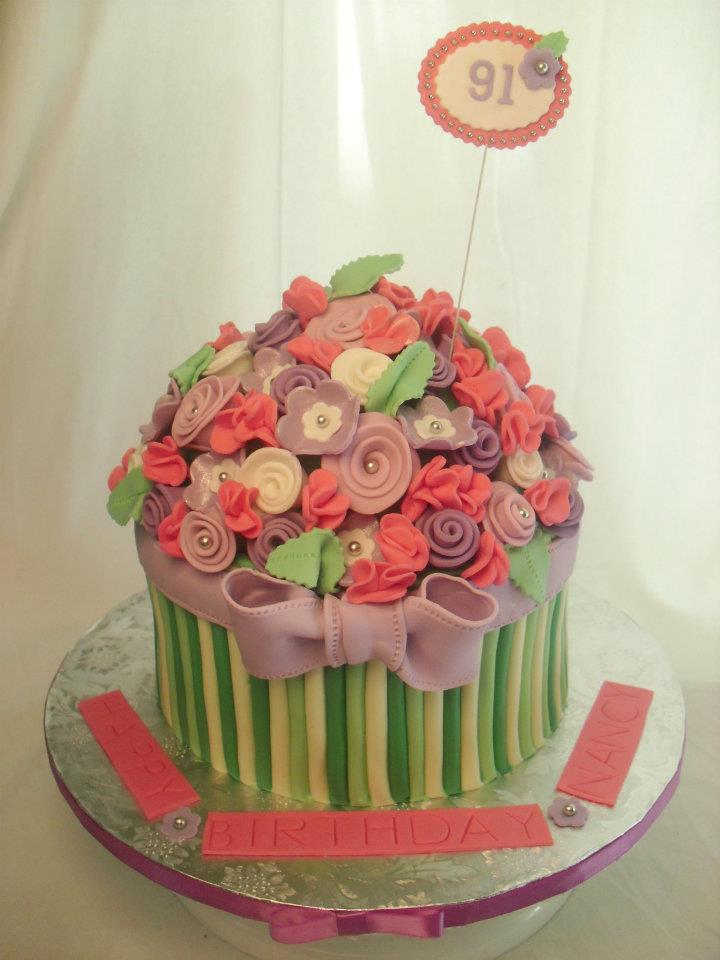 Excellent 9 Flower Birthday Cakes For Her Photo Summer Birthday Cake Funny Birthday Cards Online Hetedamsfinfo