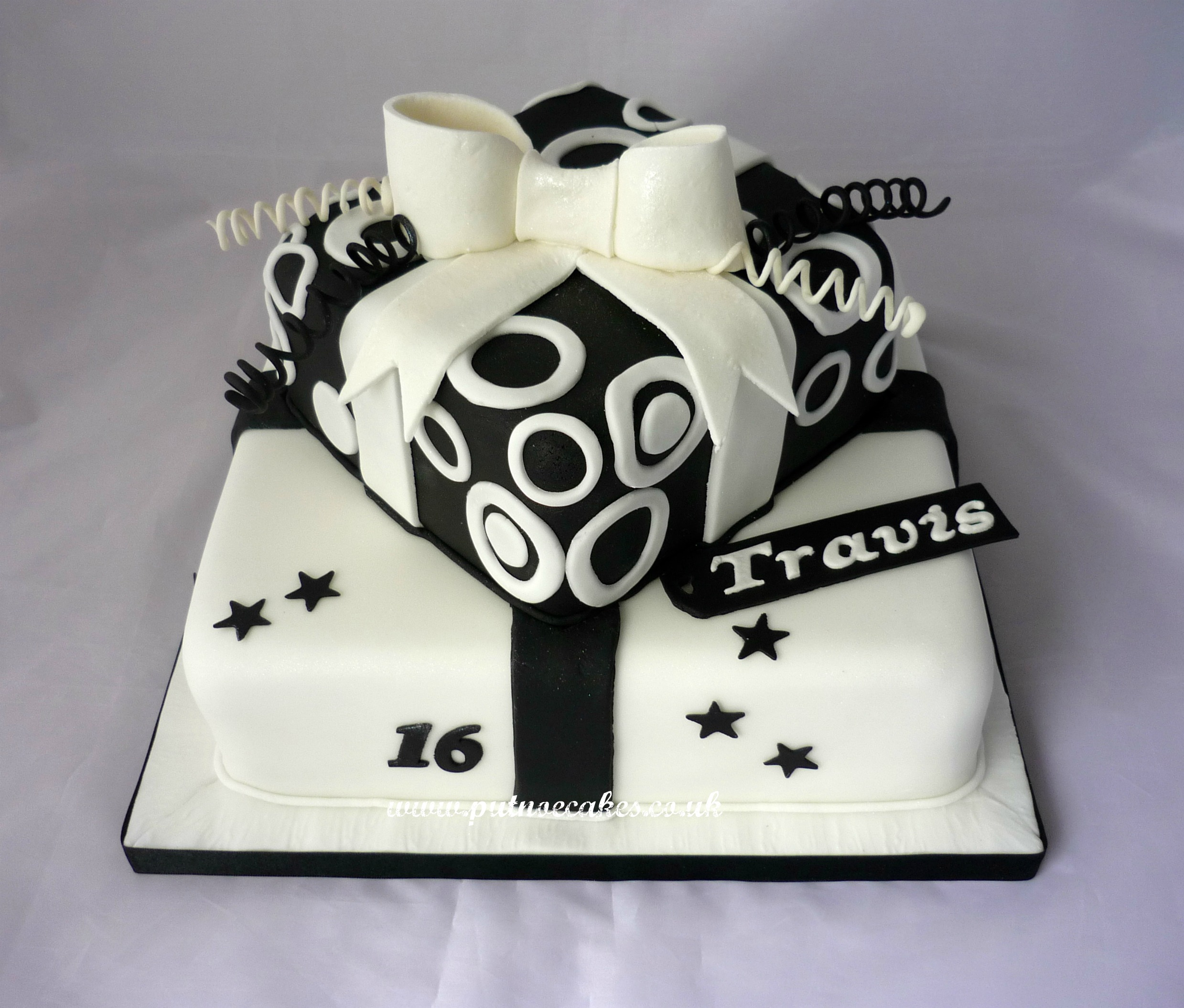 Black And White Birthday Cake For Man