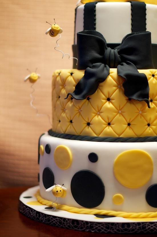 10 Honey Yellow Birthday Cakes Photo Black And Yellow Bee Cake