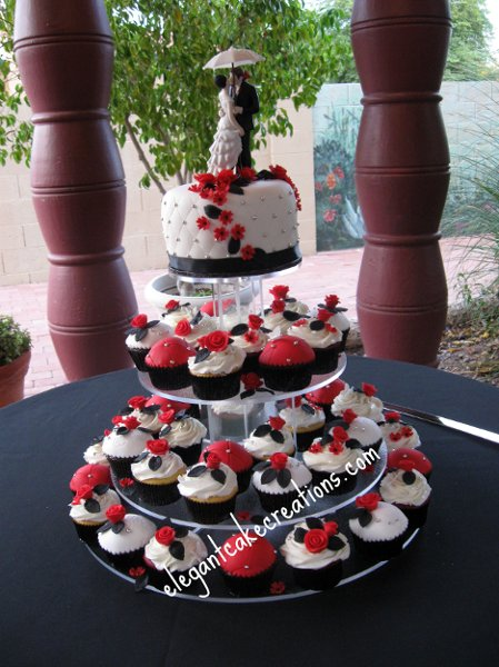 Cupcake Wedding Cake Red Black And White