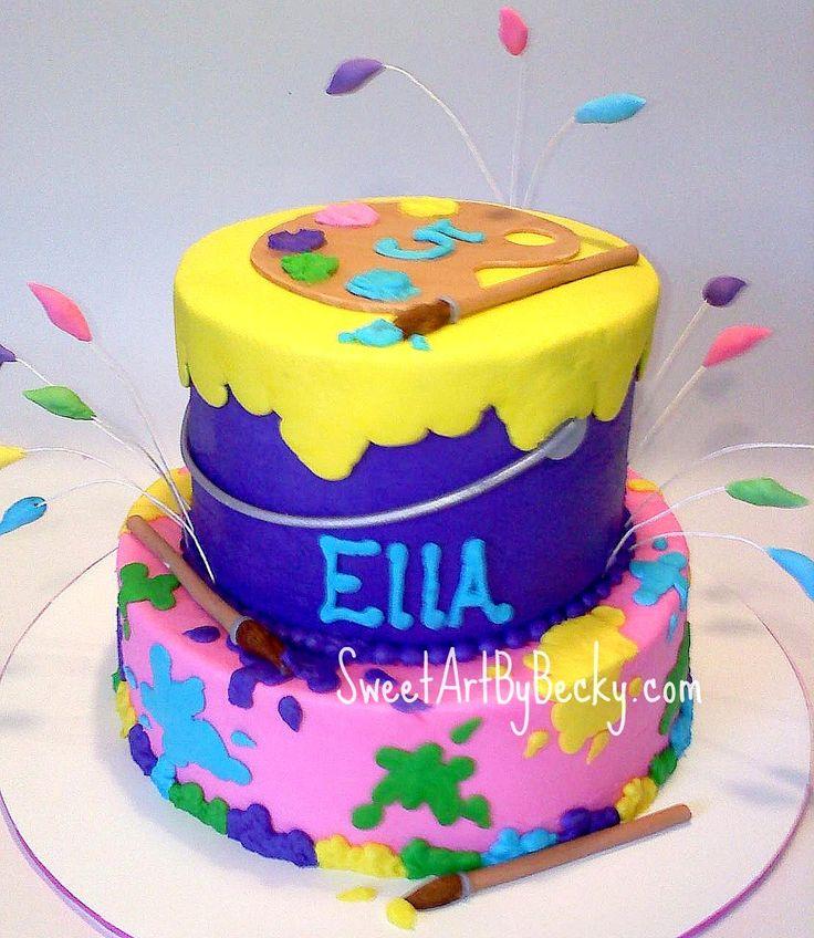 Brilliant 13 Paint Themed Party Cakes Photo Paint Themed Birthday Cake Funny Birthday Cards Online Necthendildamsfinfo