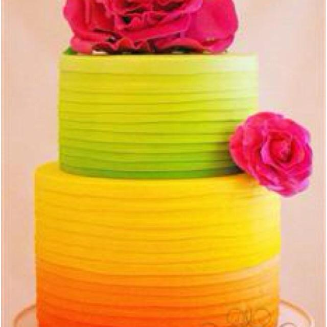 9 pink orange and yellow wedding cakes photo pink and yellow