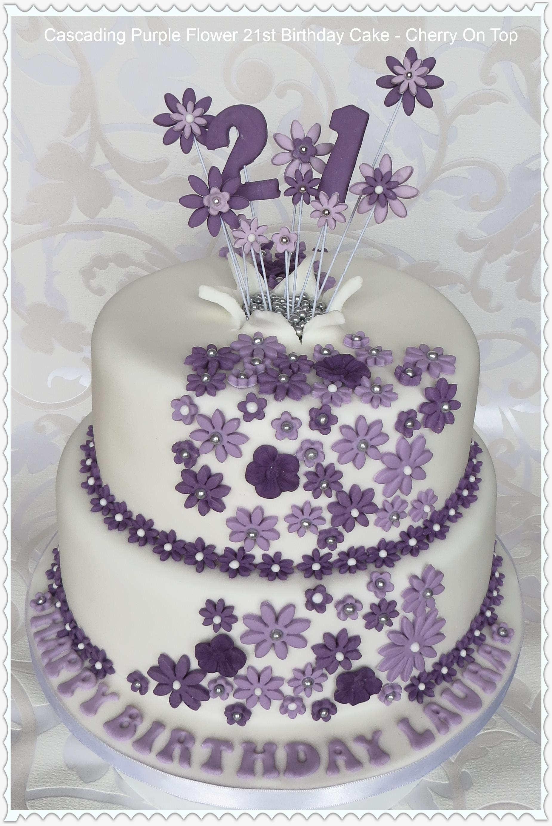 Tremendous 9 21St Birthday Cakes Flowers Photo Purple Flower Birthday Cake Personalised Birthday Cards Arneslily Jamesorg
