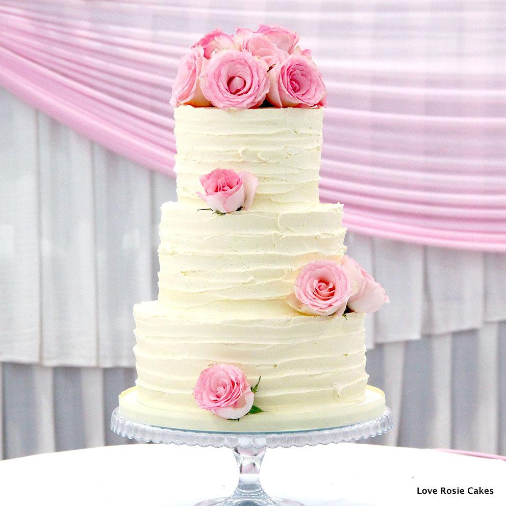 9 Three Tier Wedding Cakes Red Roses Around Photo - 3 Tier Wedding ...