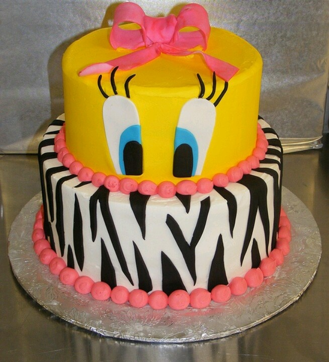 Astonishing 8 Tweety Bird And Zebra Birthday Cakes Photo Tweety Bird Funny Birthday Cards Online Kookostrdamsfinfo